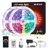 10M Tiras LED Wifi,WEILY sincronización de música que cambia de color Tira de luz LED RGB para dormitorio TV Decoración del hogar