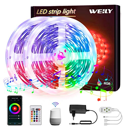 10M Tiras LED Wifi,WEILY sincronización de música que cambia de color Tira de luz LED RGB para dormitorio TV Decoración del hogar