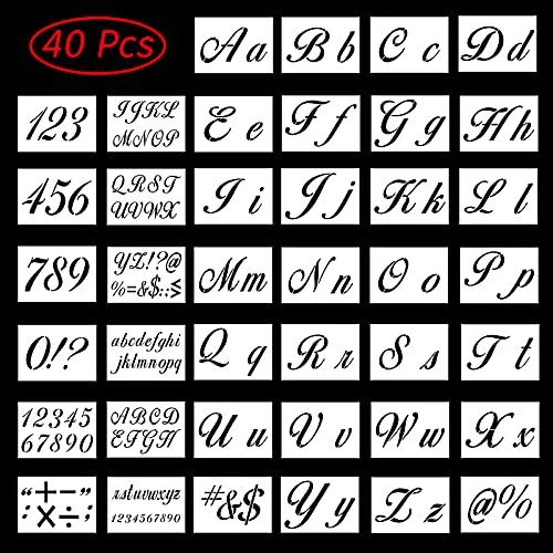 40Pcs Pochoir Chiffre et Lettre Alphabet Modèles D'Alphabet Pochoirs à Lettres Alphabet Peinture pochoirs Réutilisables en Plastique Lavable pour peinture sur bois toile tissu roche