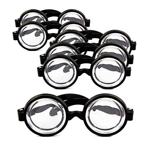 Oblique Unique® 6X Idiotenbrille Streber Nerd Geek Freak Spaß Brille Fasching Karneval Halloween Accessoire Schwarz