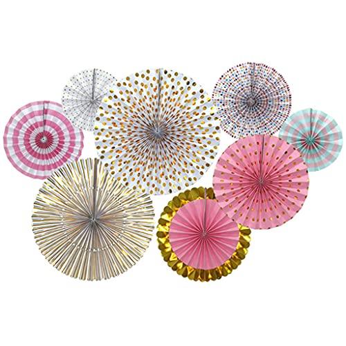 Abanicos de papel decorativos para fiestas, color oro rosa, juego de 8 unidades, para...