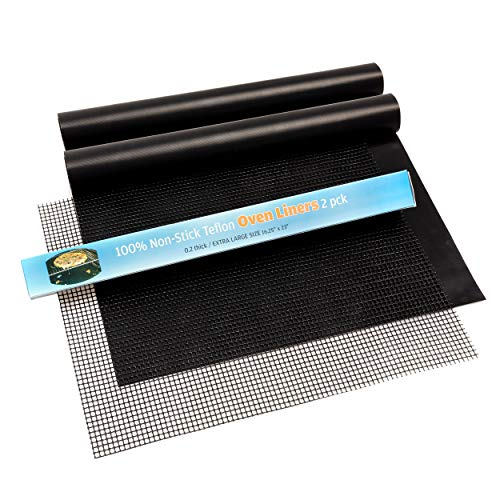 "Large Thick Heavy Duty Non Stick Teflon Oven Liners - Oven Liner Pack of 2 and Grill Mesh Oven Mat 16""x 23"" BPA and PFOA Free, for Bottom of Electric Oven Gas Oven Microwave Charcoal or Gas Grills"