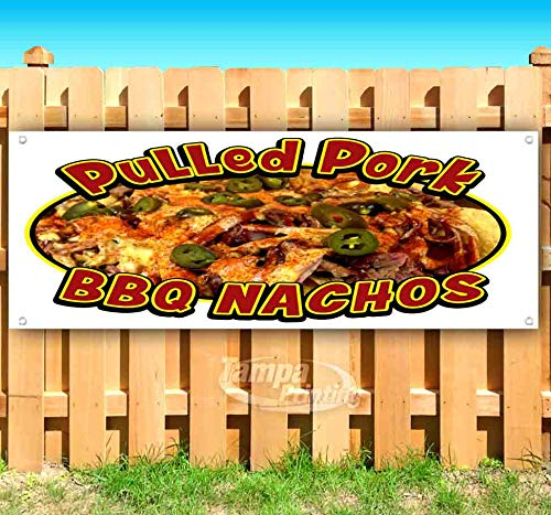 Pulled Pork BBQ Nachos 13 oz Heavy Duty Vinyl Banner Sign with Metal Grommets, New, Store, Advertising, Flag, (Many Sizes Available)