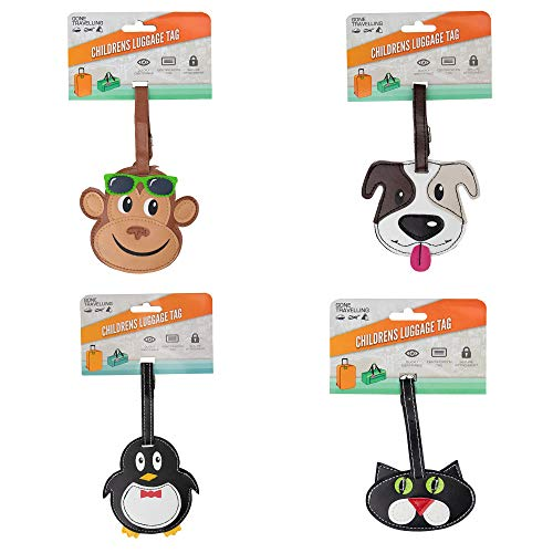 Gone Travelling Kids Novelty Luggage Tags for Travel Suitcases, Baggage and Luggage Bags - Children's Animal Name Tag Labels Accessory - Assorted Styles / Animals