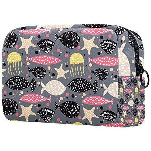 FURINKAZAN Bolsa de maquillaje de viaje de medusas de mar de color rosa, negro, amarillo, para artículos de tocador, bolsa de maquillaje para hombres y mujeres