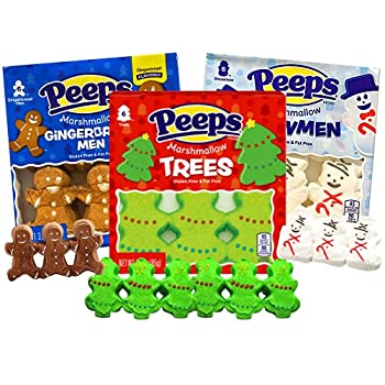 Image: Christmas Holiday Peeps Bundle 3 Pack Snowmen, Reindeer, Christmas Tree, by Peeps