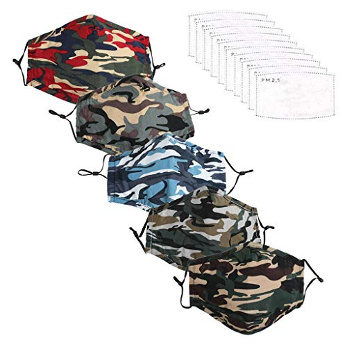 JSPOYOU 5PCS Adult Reusable Camouflage Windproof Foggy Haze With Gasket