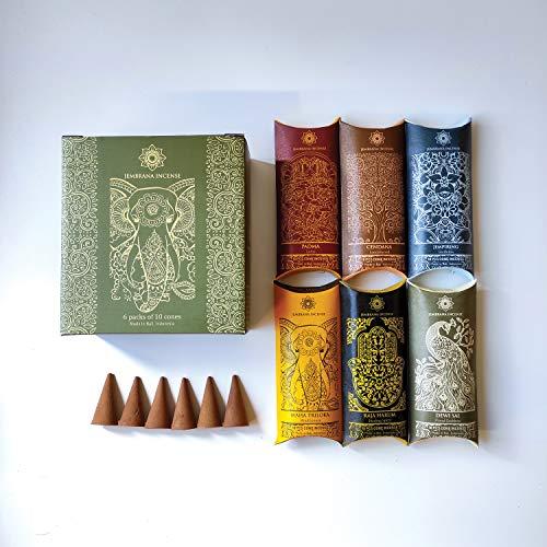 Jembrana Incense Cones- Mix 6 Scents (60 Cones Total), 10 Cones Each of Lotus (Padma), Sandalwood, Gardenia, Maha Triloka, Raja Harum & Dewi Sai (Amber), Gift Sets from Bali Soap