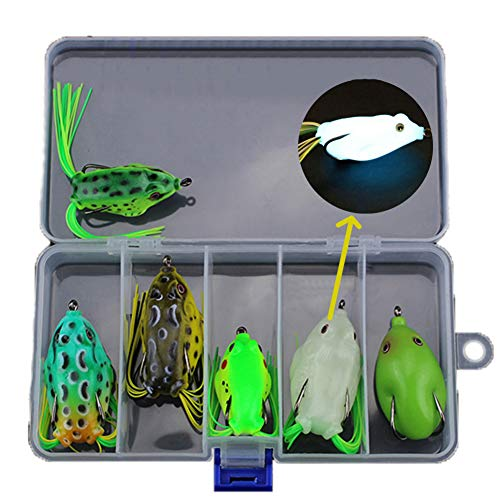 6pcs Hollow Body Frog Lure Weedless Topwater Kit, Artificial Soft Bait 5.5CM Soft Tube Bait, for Bass Pike Snakehead Dogfish Musky, Top Water Fishing Lures(Contains 1pcs Luminous Frog Lure)