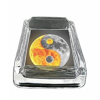 Ying & Yang Chinese Philosophy S12 Glass Square Ashtray 4 x3  Sturdy Cigarette Smoking Retro Yin Yang