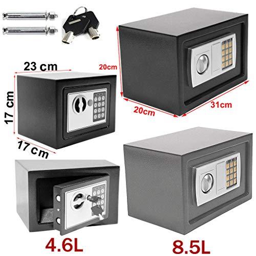 Tresor Elektronischer Safe Möbeltresor Geldschrank Digital & Schlüssel 8,5 l Schwarz Elektronischer Safe Möbeltresor Tresor Schlüsselsafe Safes Schranktresor Sicher
