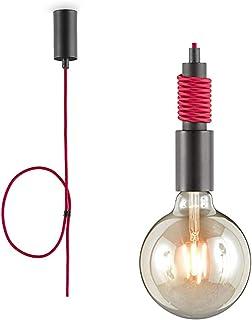 loxomo - lampa wisząca z kablem tekstylnym, 4,5 x 4,5 x 140 cm, lampa z gniazdem E27, wisząca do salonu, do maks. 60 W, la...