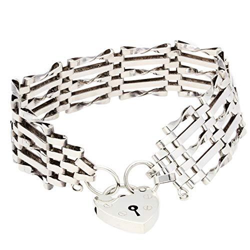 Jollys Jewellers Pulsera de plata de ley de 18,4 cm con cierre de corazón (17 mm de ancho) para mujer
