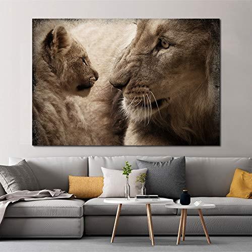 KWzEQ Leinwanddrucke Löwe Mutter und Sohn für Wohnzimmer dekorative Bilder und Poster Wandkunst30x45cmRahmenlose Malerei