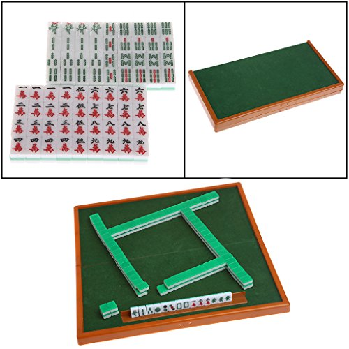 Qiman Portable Mini 144 Mahjong Set Mah-Jong Tabelle Traditionelle Spiel Reise Faltbar