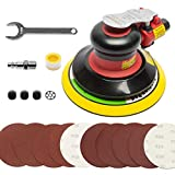 6-inch Air Random Orbital Sander by UPWOOD, Heavy Duty Dual Action DA Pneumatic Sander with 10pcs Sandpapers, Palm Air Sander Tool for Auto Body Work Woodworking Composites Metal