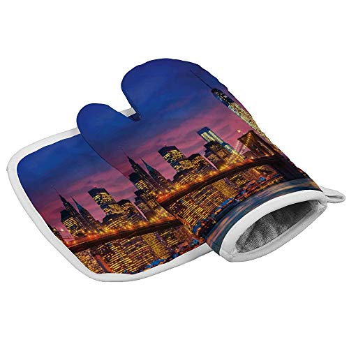 Tamengi Panorama NYC with Neon Oven Mitt and Pot Holder Set, Heat Resistant Oven Mitts Non Slip Pot Holders, Kitchen Microwave Gloves for Baking Cooking Grilling BBQ