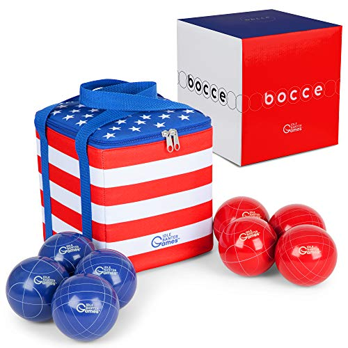 Idle Banter Games 90mm Bocce Balls Set with Nylon Carrying Case - Lawn Game for Adults and Kids - Backyard Game Perfect for Parties, Picnics and The Beach
