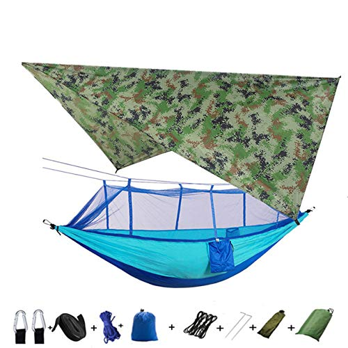 XIANGEN Hammock with Mosquito Net and Rain Tarp Lightweight Portable Camping Hammock Tent Awning Rain Fly Tarpaulin Waterproof