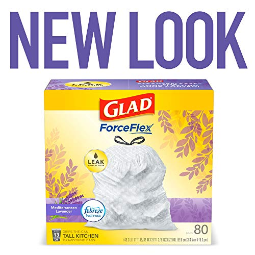 Glad ForceFlex Tall Kitchen Drawstring Trash Bags 13 Gallon White Trash Bag, Mediterranean Lavender scent with Febreze Freshness 80 Count (Package May Vary)