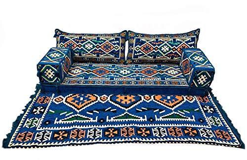 5 Teilige Set Sark Kösesi Orientalische Sitzecke,Sitzkissen Set Blau 190cm Komplett gefüllt