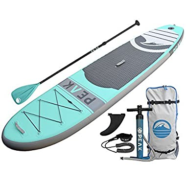 PEAK Inflatable 10'6 Stand Up Paddle Board Complete Package (6  Thick) | Includes Adjustable Paddle, Travel Backpack, Coil Leash (Aqua)