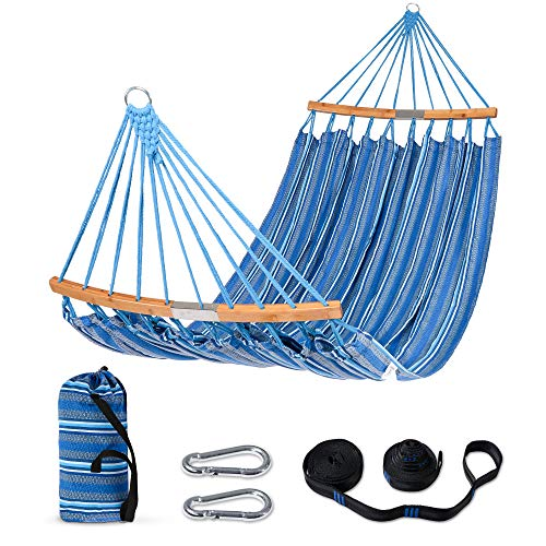 SUNCREAT Hammocks Double Hammock with Curved Bamboo Spreader Bar, Outdoor Portable Hammock with Carrying Bag & Tree Straps for Bedroom, Patio, Backyard, Balcony, Max 450lbs Capacity, Blue