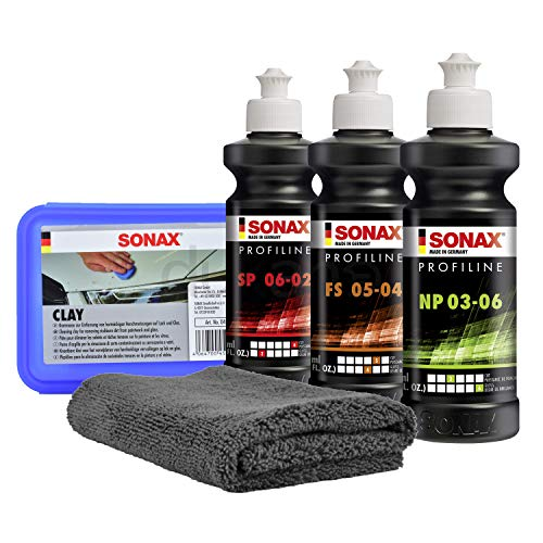 SONAX PROFILINE Politur Set NP 03-06 + SP 06-02 + Glass Polish + Clay + Tuch