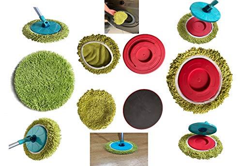 1 cabezal de recambio abrillantador Twist and Clean Clean 100% microfibra universal compatible con escoba Vadrouille escoba mop Heads Clean Twist Disc Mop Mop Mop Mop Mop de 360 °