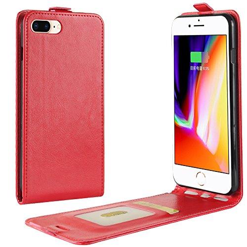 XZDWH Para iPhone 8 Plus, para iPhone 7 Plus Case, Slim Vertical Flip Folio Phone Case PU Funda de cuero Cierre magnético Shell con ranura para tarjeta para iPhone 8 Plus/iPhone 7 Plus (rojo)