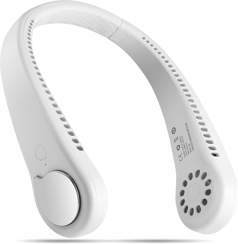 Bladeless Neck Fan, Portable and Wearable Personal Fan, USB Rechargeable, Headphone Design, Neckband Fan with 3 Speeds