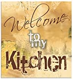 Artland Spritzschutz Küche aus Alu für Herd Spüle 60x65 cm Küchenrückwand mit Motiv Spruch Shabby Landhaus Kunst Willkommen Ocker H6ZJ