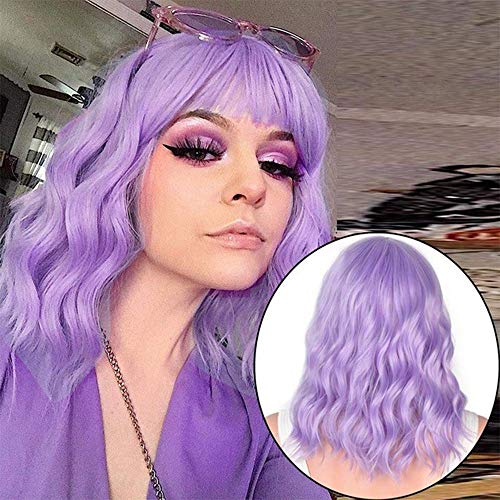 Bob Curly Wig Short Purple Wigs with Bangs Shoulder Length Wigs Heat Resistant Synthetic Wigs Cosplay Party Wig for Women (Purple)