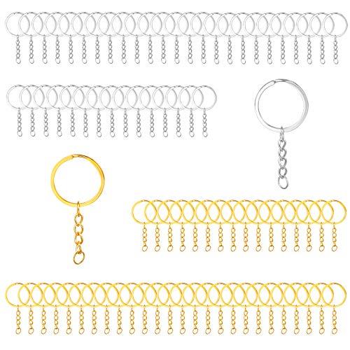 80 piezas de anillo de llavero dividido de 30 mm con cadena, llaveros en blanco con cadena Conector de llaveros de metal para manualidades - Plata + Oro