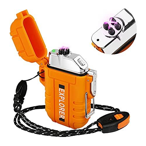 Lafagiet F13-Orange Feuerzeug mit doppeltem Lichtbogen, wiederaufladbar, wasserdicht, für Camping, Wandern, Outdoor-Überlebensset