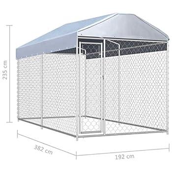 vidaXL Chenil d'Extérieur pour Chien avec Toit à Baldaquin Enclos Cage Chiots