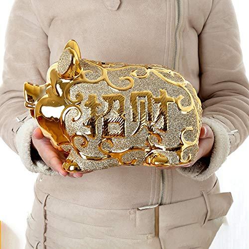 PPuujia Hucha de cerámica grande alcancía de cerámica segura para esconder hucha creativa de cerámica de regalo para ahorrar dinero y dinero (Color: XL)