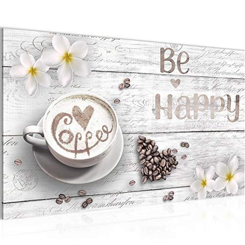 Bilder Küche Kaffee Wandbild 70 x 40 cm Vlies - Leinwand Bild XXL Format Wandbilder Wohnzimmer Wohnung Deko Kunstdrucke Weiß 1 Teilig - MADE IN GERMANY - Fertig zum Aufhängen 020614c