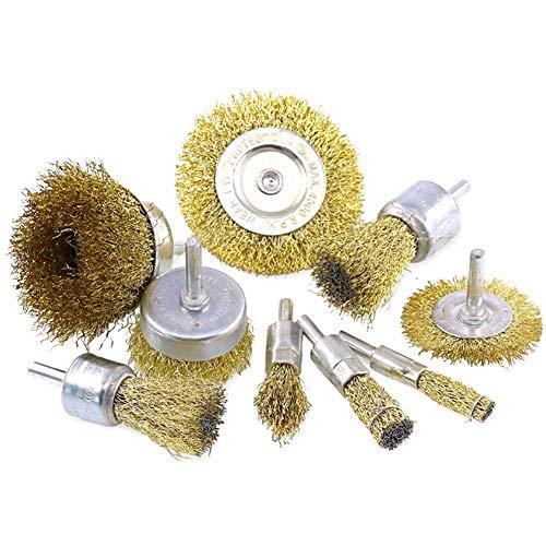 Juego de cepillos de alambre recubiertos para taladro, juego de cepillos de alambre con revestimiento de latón para la eliminación de óxido/corrosión/pintura