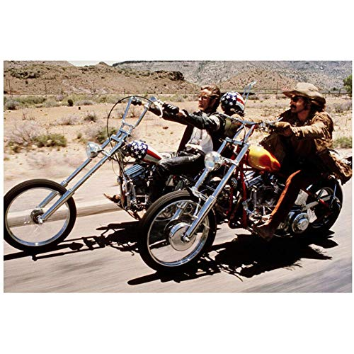 NRRTBWDHL Peter Fonda Kult-Szene mit Dennis Hopper Riding Bikes Easy Rider Silk Poster Dekorativer Wandfarben-Druck auf Leinwand -50x75cm Ohne Rahmen