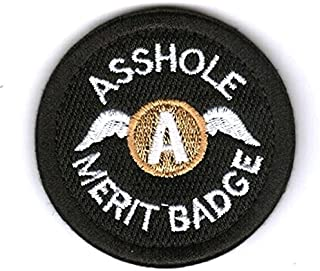 Asshole Merit Badge Tactical Hook and Loop Patch Funny Gift (Black)