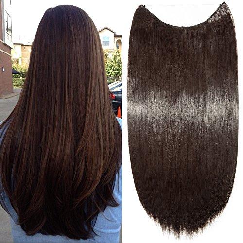 Haarteil Extensions 1 Tresse Haarverlängerung Synthetische Haare Haarverdichtung Glatt 50cm-90g #4A Schokobraun