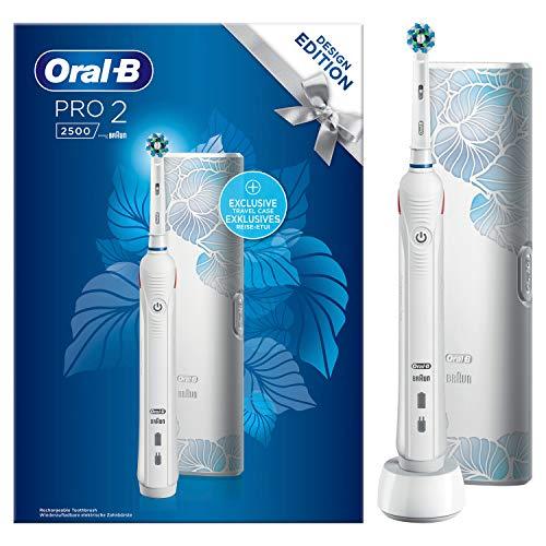 Oral-B PRO2 2500 Design Edition Elektrische Zahnbürste mit visueller Andruckkontrolle für extra Zahnfleischschutz, Reise-Etui, weiß
