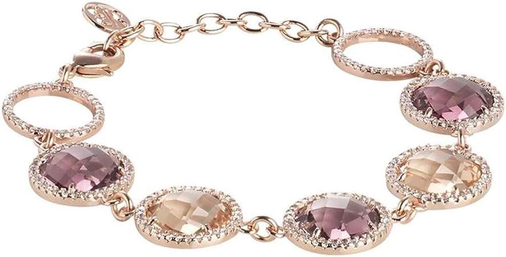 Boccadamo,bracciale in bronzo placcato oro rosa con decoro composto da cristalli briolette peach e ametista XGR265