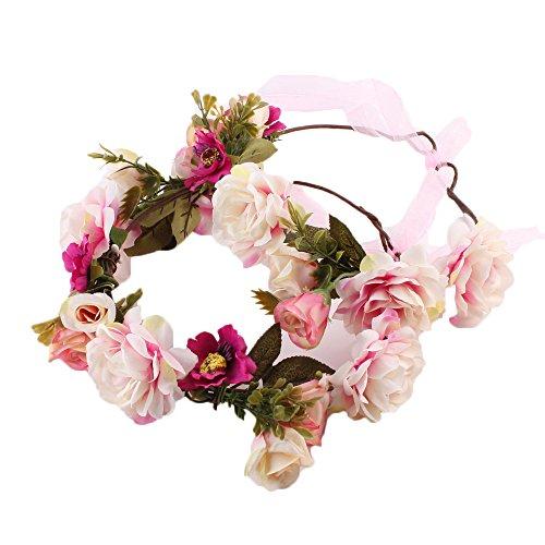 COIN Stirnband Blumenkranz Blumenstirnband Handwerk für Festival Hochzeit Blumenkrone für Mädchen Brautjungfer Festival Urlaub für Mutter & Baby Mädchen 2 Pcs (Rosa)