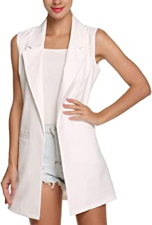 Misqimi Women's Casual Plus Size Sleeveless Solid Vest Trench Coat with Pockets Long Suit Coat Waistcoat Cardigan