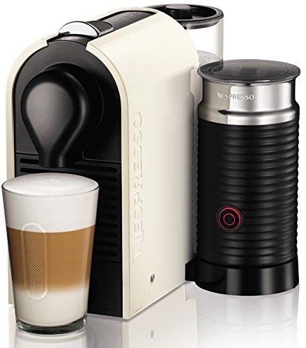 Krups XN2601 Nespresso UMilk Kaffeekapselmaschine (19 bar, inklusive Welcome Pack mit 16 Kapseln) creme-weiß