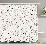 N\A Ahawoso Duschvorhang Set mit Haken Terrazzo Muster Wand Design Material Marmoroberfläche Nahtlose Mode Abstrakte Texturen Granit Wasserdichtes Polyestergewebe Bad Dekor für Badezimmer