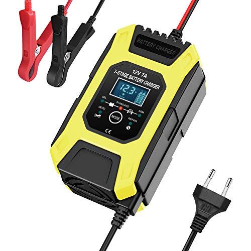 OHMOTOR Cargadores de Batería con Pantalla LCD, Mantenimiento Mantenedor Automático Inteligente 12V/7A con 7 Pasos de Carga Múltiples Protecciones y Desulfator para Coche Moto Automóvil Barco,Amarillo