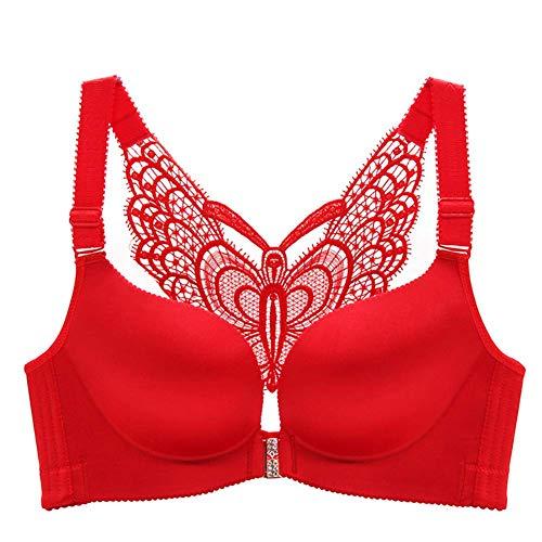 Huaheng Damessluiting, push geknoopt draad, gratis gladde riempjes rug vlinder beha 34B rood